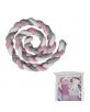 Tour de lit tresse Rose/Blanc/Gris - 300x12x7cm